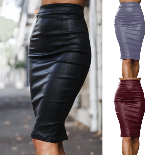 7091eea7a4 Sexy Black Gray Red Pu Leather Skirt Bodycon Women High Waist Knee-length  Pencil Skirt Backless High Split Zipper Velvet Skirts