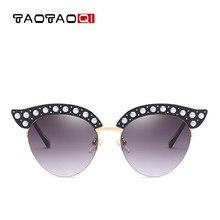 8cfafca742 TAOTAOQI nueva marca medio marco gato ojo gafas de sol mujer diseñador moda  ceja forma perla decoración gafas de sol UV400