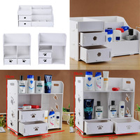3 Styles DIY Removable Makeup Cosmetic Organizer Storage Box Dresser Desk Srorage Box Bathroom Waterproof