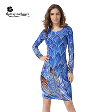 2016 Autumn New Party Dresses Long-sleeved Dresses Slim O-neck Retro Print Sexy celebrity Women Dress Casual Dress Plus Size