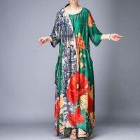 Irregular silk summer dress vintage elegant dresses plus size long dress casual o neck printed robe new arrival personality tide