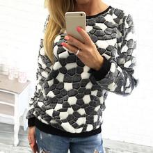 New Fashion Stone Printed Women Knitted Coats Pull Femme Autumn Winter  Pullover Casual Christmas Sweatshirt(. 3 Colors Available 73576fb28f59