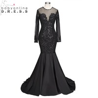 Sexy Open Back Long Sleeve Black Mermaid Prom Dresses 2018 Luxury Beaded Sequined Party Dresses with Train vestido de festa