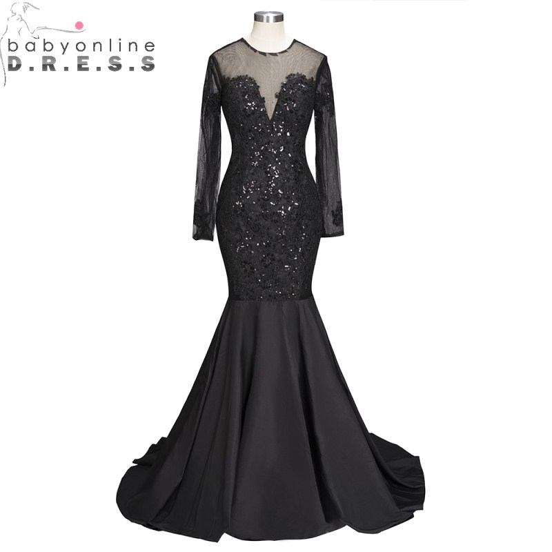 Sexy Reflective   Dress   Open Back Long Sleeve Black Mermaid   Prom     Dresses   2019 Luxury Beaded Sequined Party   Dresses   with Train
