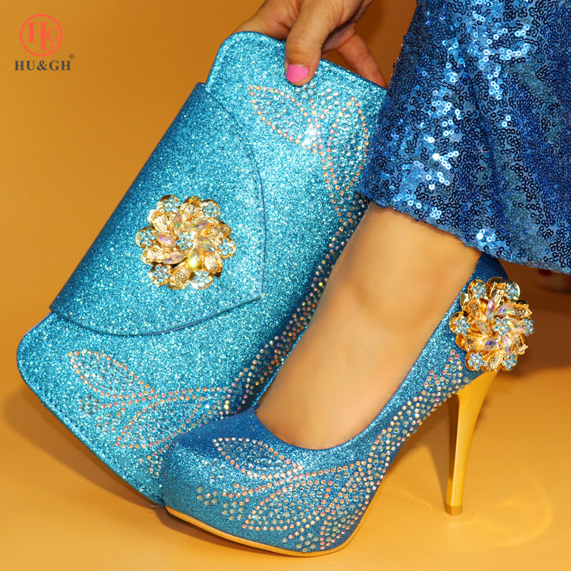 Sky Blue African Matching Shoes and Bags Italian In Women Nigerian Party Shoe and Bag Sets Women Wedding Shoes and Bag Set Italy