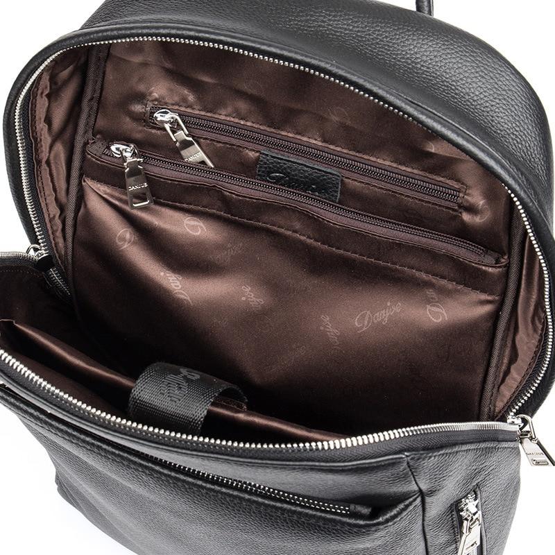 DANJUE hommes sac à dos en cuir véritable noir couleur sacoche pour ordinateur portable professionnel sac d'école étudiant de haute qualité en cuir véritable sac à dos de voyage - 5