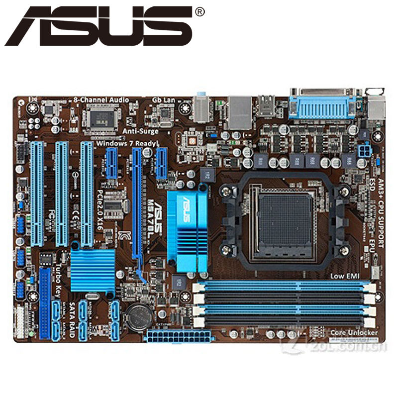 Asus M5A78L Desktop Motherboard 760G 780L Socket AM3 AM3+ DDR3 16G ATX UEFI BIOS Original Used Mainboard On Sale asus p8h61 plus desktop motherboard h61 socket lga 1155 i3 i5 i7 ddr3 16g uatx uefi bios original used mainboard on sale