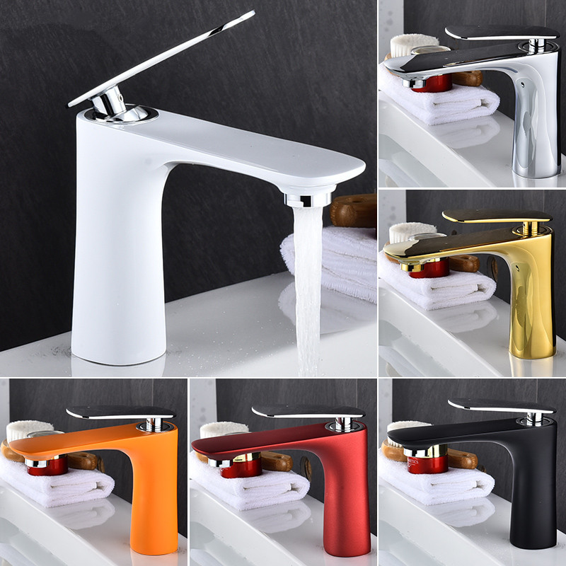 Basin Faucets Hot&Cold Sink Mixer Bathroom Basin Tap Brass Gold/Chrome/White/Red/Black Bathroom Faucet Crane Sink TapBasin Faucets Hot&Cold Sink Mixer Bathroom Basin Tap Brass Gold/Chrome/White/Red/Black Bathroom Faucet Crane Sink Tap