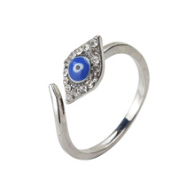 1pc Evil Eye Open Ring Copper Gold/Silver Color Stainless Steel Crystal Ring Jewelry Adjustable Women Ring Jewelry 22*21mm