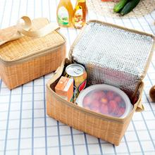 Imitation Rattan Braided Lunch Bag Hand Knit Thickened Waterproof Thermal Food Insulation Bags For School Outdoor Picnic Camping