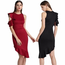 Summer new season Italian lotus leaf sleeves womens dress sexy high waist elegant tight-fitting slim ladies