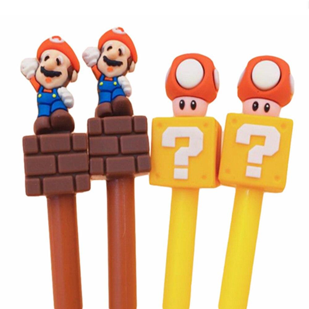 1 Pcs Cartoon Super Mario Zwarte Inkt Pen Paddestoel Pvc Model 3d Leuke Mario Brother Actiefiguren Balpen Kid Gift Speelgoed Straatprijs