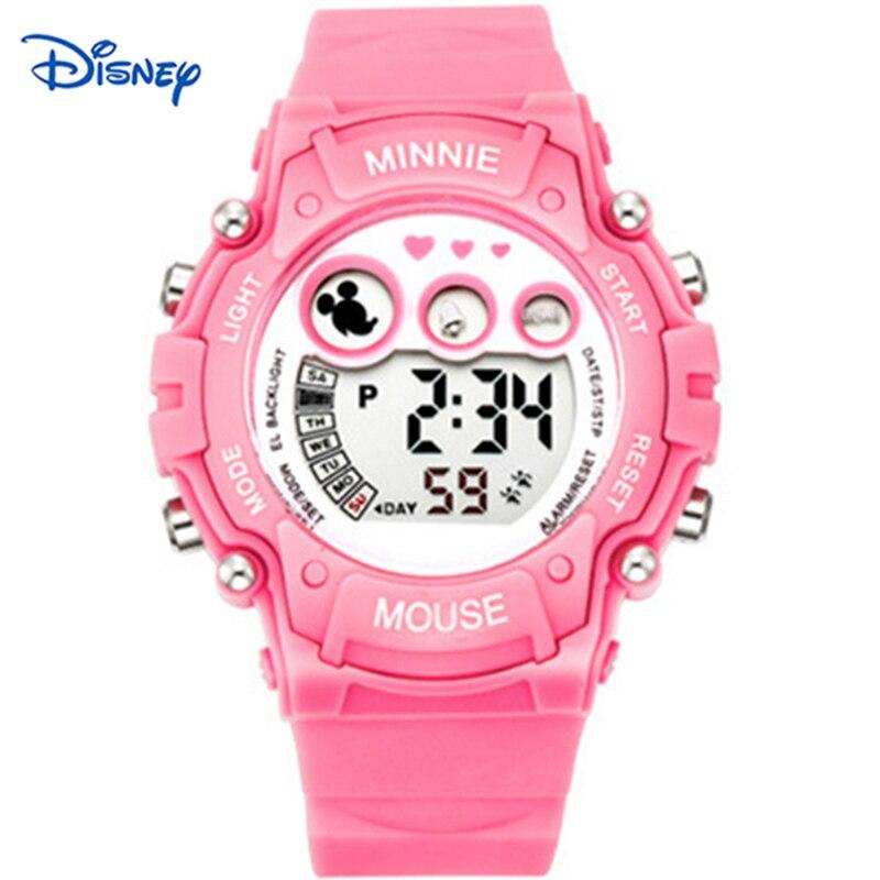Disney Kids Watches Digital watch Montre Femme Marque de Luxe Famous Brand Pink Date Children Girls
