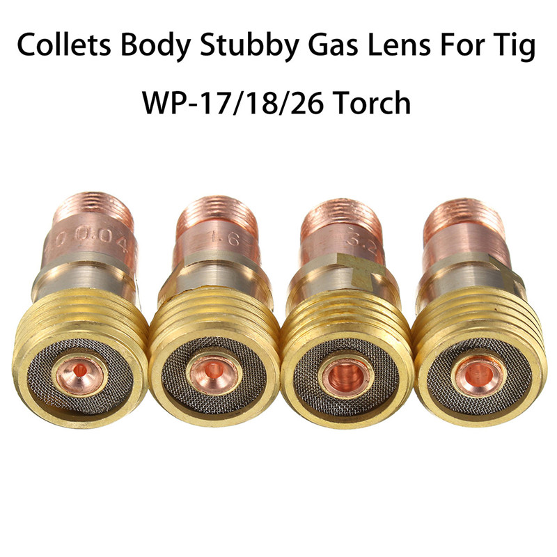 Brass Tig Welding Torch Collets Body Stubby Gas Lens Kit For Tig WP-17/18/26 Torch Welding Accessories 14x28.1mm Welding Tig