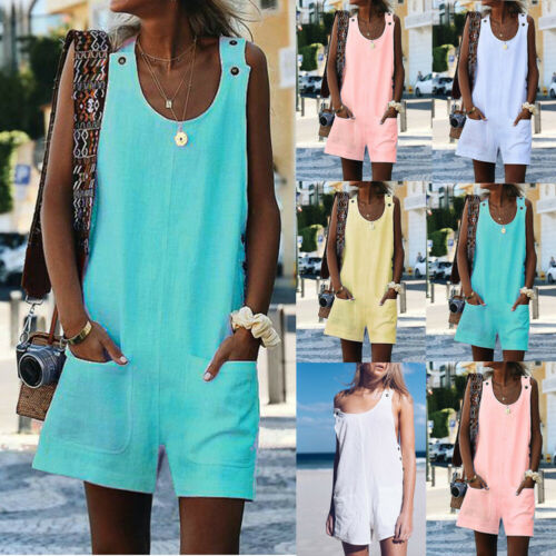 2020 New Women Wide Leg Short Pants Playsuits Bohemian Style Casual Soft Jumpsuits Ladies Sexy Bodysuits Summer Clothing