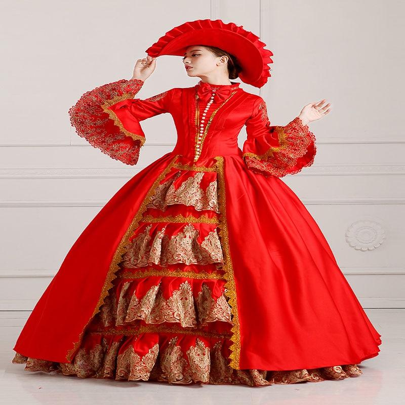 2018 rouge européenne Court longue robe Halloween victorien fête banquet robes de bal pour les femmes livraison directe (inclure robe + chapeau)