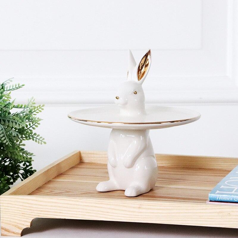 Скандинавский креативный Кролик Керамический торт лоток украшение дома - 5
