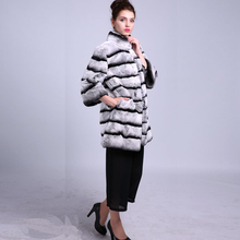 Real Female Fur Rex Rabbit Fur 90 CM Length High Quality Suit for 25-50 Years Women Grace Fashion Trendy Style Coat DS1003-1