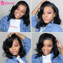 Body Wave Short Bob Wigs Brazilian Lace Front Human Hair Wig