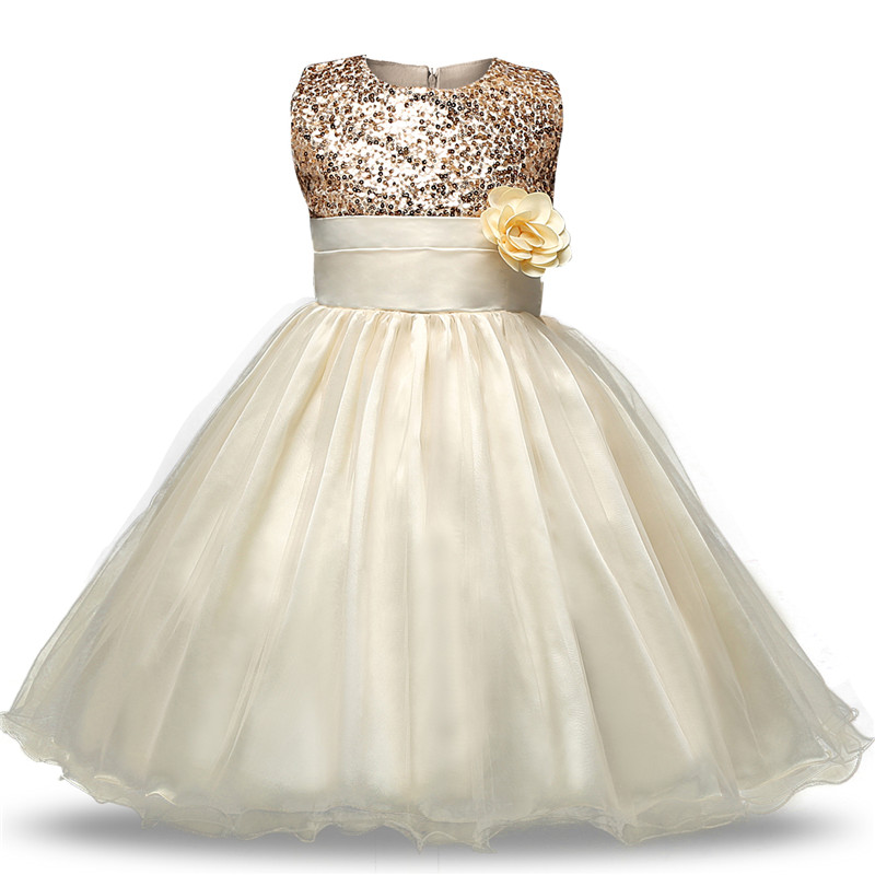 Summer Infant Teen 0-12T Toddler Baby Girl Dress Gold Sequin Tutu Dresses With Flowers for Children Event Party Birthday Wear