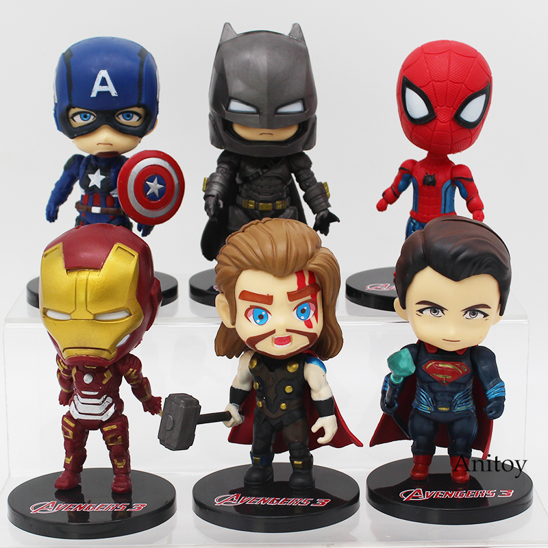 Marvel DC COMICS Super Heroes Superman Batman Iron Man Spiderman Thor Captain America PVC Figures Toys 6pcs/set 9-10cm captain america 12in 1pcs set pvc figures the avenger marvel captain america action anime figures kids gifts toys