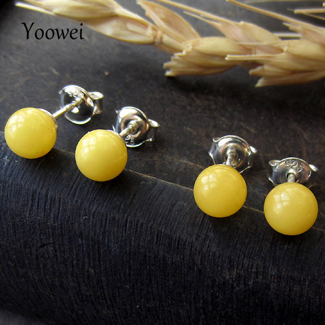 f717c7db065fd US $16.37 12% OFF|Yoowei 5mm Natural Amber Earrings Solid 925 Sterling  Silver Handmade Rounded Gemstone Ball Genuine Baltic Amber Stud Ear  Jewelry-in ...