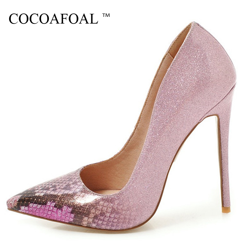 COCOAFOAL Woman Golden Pumps Patent Leather Fashion Sexy 16 CM High Heels Shoes Plus Size 33 - 48 Silver Red Pink Wedding Pumps cocoafoal woman green high heels shoes plus size 33 43 sexy stiletto red wedding shoes genuine leather pointed toe pumps 2018