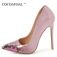 COCOAFOAL Woman Golden Pumps Patent Leather Fashion Sexy 16 CM High Heels Shoes Plus Size 33 48 Silver Red Pink Wedding Pumps