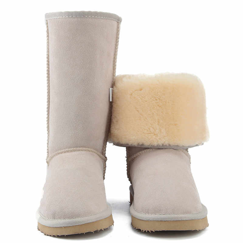 JXANG haute qualité marque bottes de neige femmes mode en cuir véritable australie classique femmes botte haute hiver femmes chaussures de neige