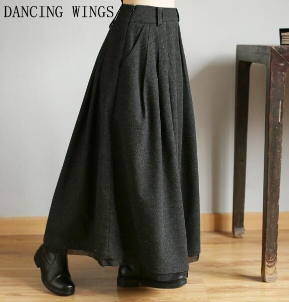 Grueso Falda Lana Cintura Maxi Alta Vintage Mujer Invierno Faldas Línea Otoño Cálido Larga Negro A CqWgg5