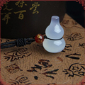 Natural Handmade Water Embellish Color Agate Chalcedony White Jade Carved Gourd Lucky Jade Pendants+Rope Necklace Fashion Jade