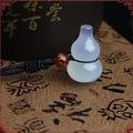 Hecho A Mano Natural Calcedonia Ágata de Color de Jade Blanco Esculpido Embellezca Agua Calabaza Suerte Jade Colgantes de Jade + Cuerda Collar de La Manera