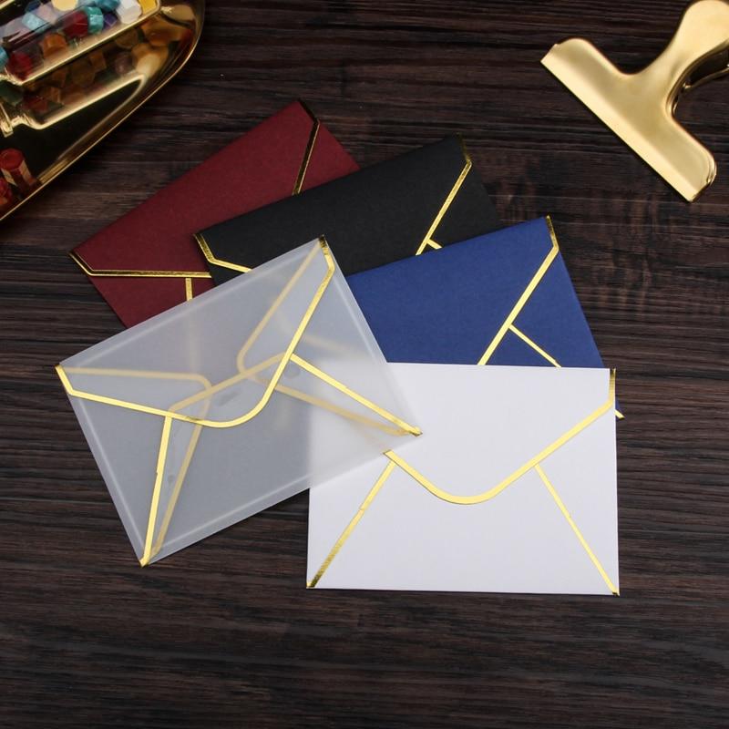 20pcs/set Transparent Paper Envelopes Hot Stamping Print Thicken Paper Envelope for Wedding Letter Invitation Scrapbooking Gift