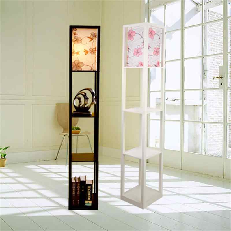 Modern Wooden Floor Lamps Bookshelf Floor Stand Lights Tea Table Standing Lamp Living Room Bedroom Locker Nightstand Lighting