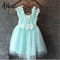 mint/pink/white,baby girls three flowers lace shoulder dress, kids pretty summer dress,LHQ01