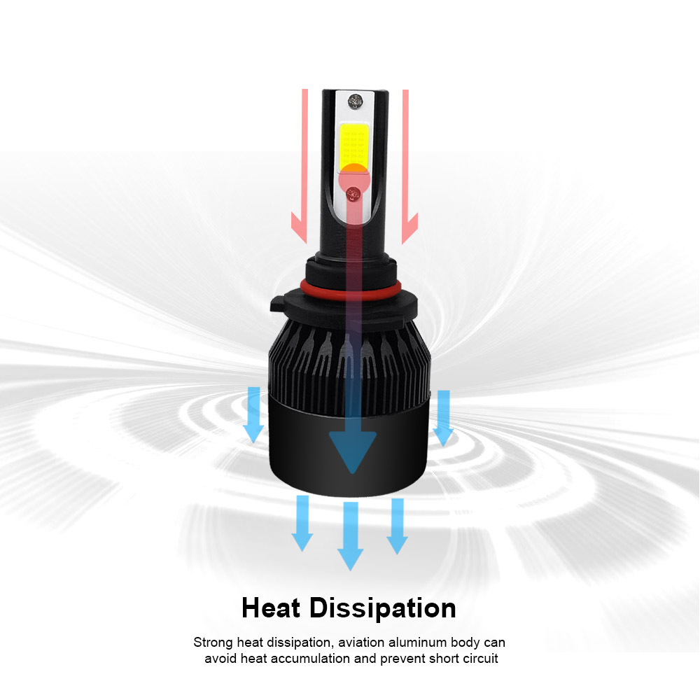Image 3 - Turbo Ampoule Black C6 H7 H4 LED H11 H1 H8 Car LED Headlight Bulb H9 9005 9006 HB2 HB3 HB4 9003 12V 24V 60W 6000K 12000LM COB Au-in Car Headlight Bulbs(LED) from Automobiles & Motorcycles