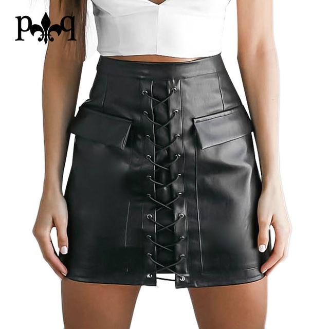 Encaje de Las Mujeres Faldas de Cintura Alta Mini Falda de Cuero de La Pu Desgaste atractivo Del Club Negro Bodycon Pencil Skirt Mujeres Streetwear Jupe Femme