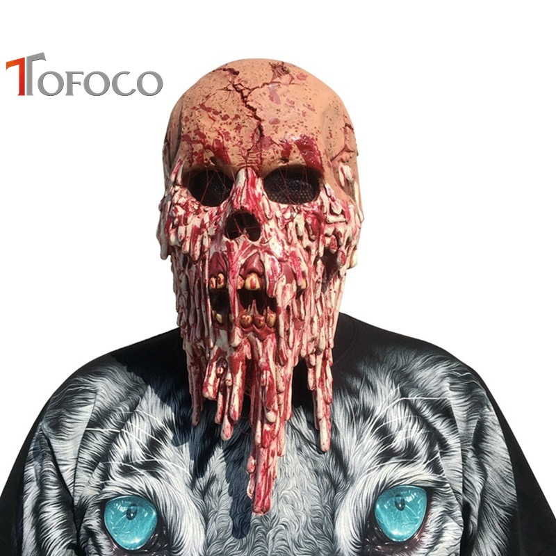 TOFOCO New Tricky Toys Mens Halloween Horror Scary Evil Zombie Latex Head Bloody Skeleton Mask Joke Prank Toy Novelty Shocker