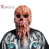 TOFOCO New Tricky Toys Mens Halloween Horror Scary Evil Zombie Latex Head Bloody Mask Joke Prank