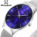 Readeel Mens Watches Top Brand Luxury Men Stainless Steel Wristwatches Ultra Thin Dial Clock Men Quartz-Watch erkek kol saati