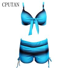 CPUTAN Sexy Push Up Gradient Women Bikini XXXL Halter Plus Size Retro Shorts Tankini Two Piece Brazilian Beach Swimwear Female