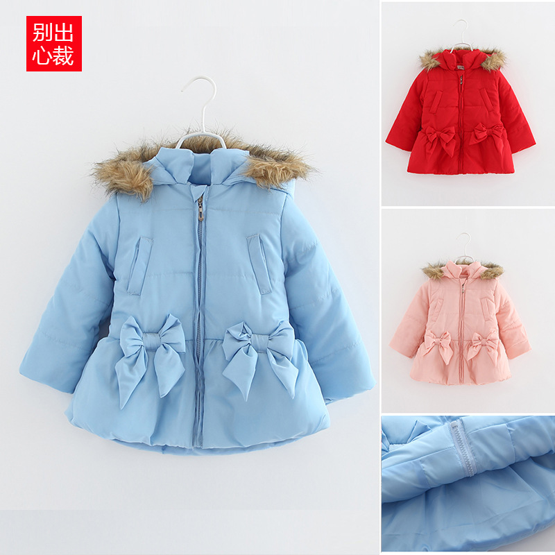 Children s winter solid color long section of the 2016 girls thick winter coat padded jacket