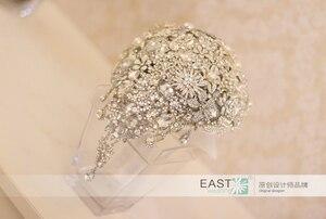 Image 2 - Silber brosche bouquet high end kundenspezifische hochzeit brautsträuße kristall diamant teardrop Braut Bouquet hochzeit dekoration