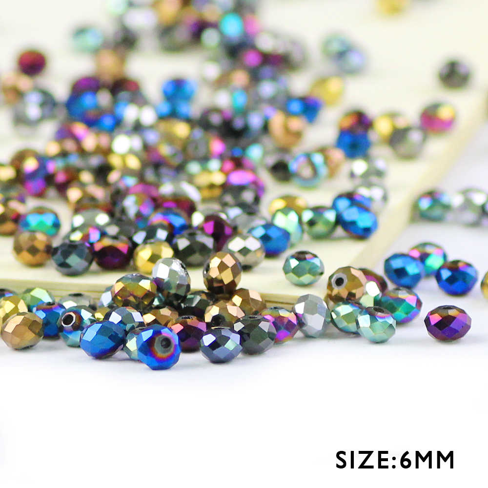 WLYeeS Plating color 6mm Austrian crystal beads 50pcs Flat Round glass Loose Spacer bead for DIY Women Necklace bracelet Making