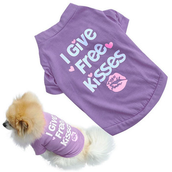 2020 Small Purple Pet Cat Dog Clothes Summer I Give Free Kisses Style Pupppy Doggy T Shirt Vest Girl Dog Apparel On Sale #LR1 image