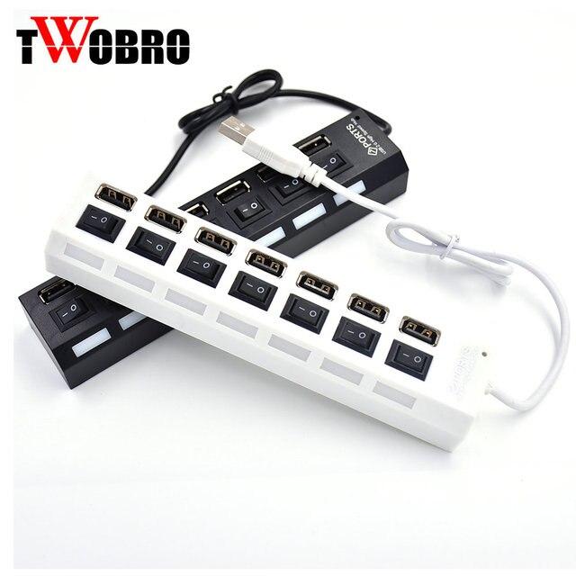 USB Hub 2.0 4 cổng 7 Cổng Hub USB Splitter Adapter Với ON/OFF Chuyển Tốc Độ Cao USB 2.0 hub Cho Máy Tính Xách Tay Phụ Kiện Máy Tính