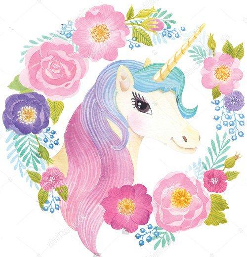 Unicorn Head In Wreath Of Flowers Watercol Backdrop Vinyl