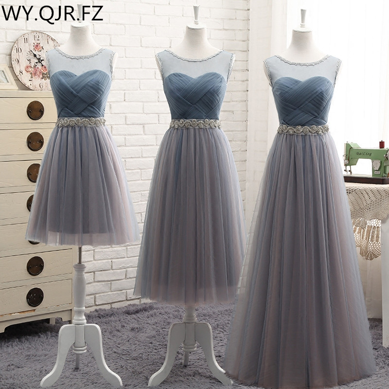 YYMY01#Round Collar Lace Up Resin Drill Ornament Short Middle Length Three Styles Bridesmaid Dresses Wedding Party Prom Dress