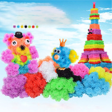 200pcs The Colour Fleabane Squeezing The Ball Puzzle Play Set Environmental Protection Plastic Sticky Spell Building Blocks