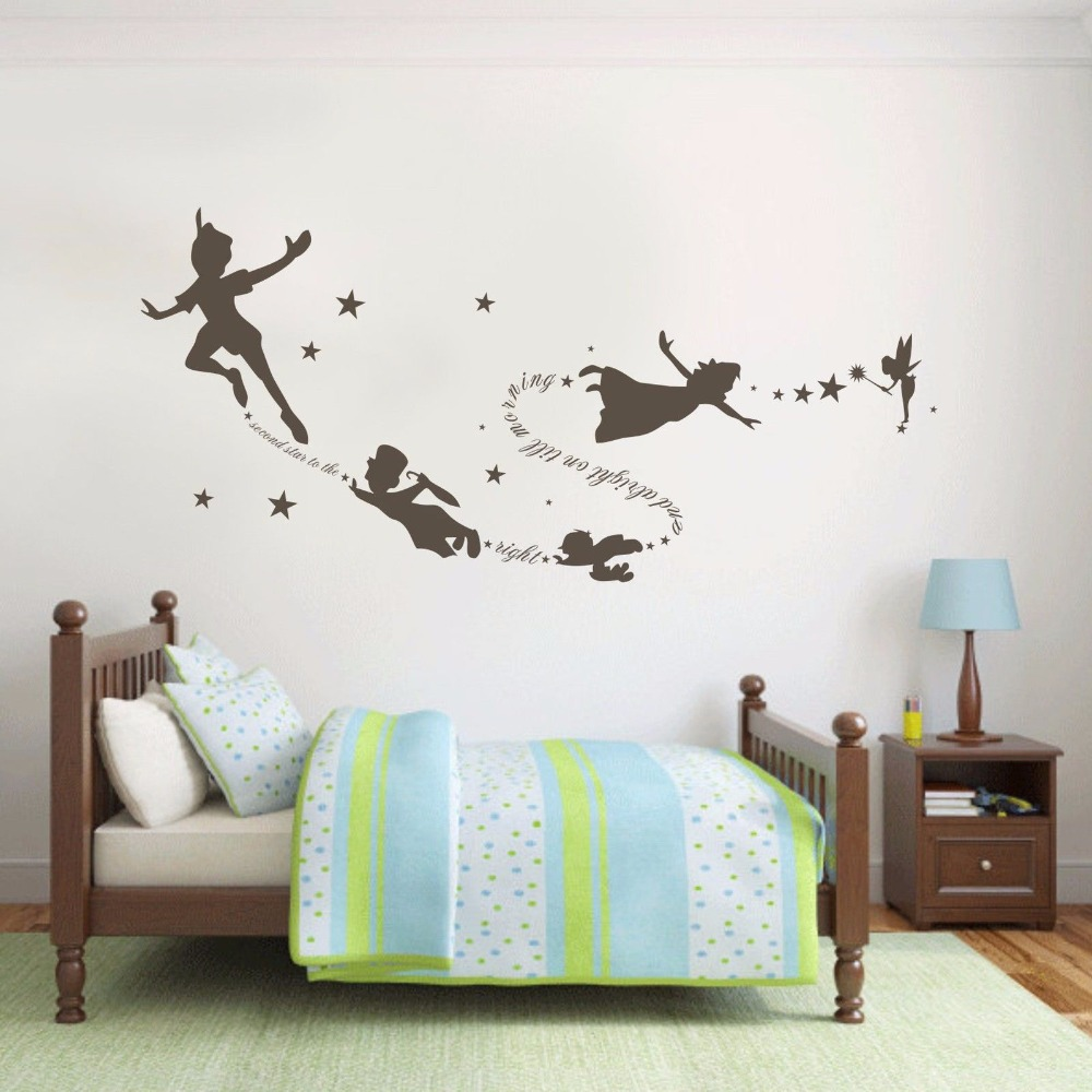 Tinkerbell Peter Pan Wall Decal Removable Kid Second Star Quote Vinyl Poom  Decor 22inx58in(China